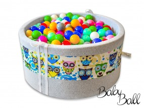 Suchy basenik BabyBall z piłeczkami niebieskie sowy