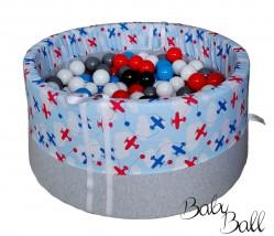 Suchy basenik BabyBall z piłeczkami samoloty