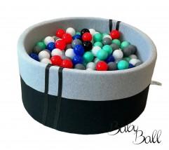 Suchy basenik BabyBall z piłeczkami melanż + antracyt