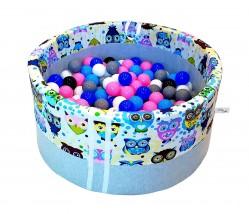 Suchy basenik z piłeczkami dla dzieci niebieskie sowy
