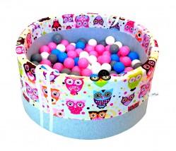 Suchy basenik BabyBall z piłeczkami dla dzieci różowe sowy