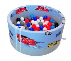 Suchy basenik BabyBall z piłeczkami autka